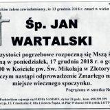 Ś.P. Jan Wartalski, 13.12.2018 r. Złotoryja