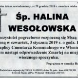 Ś.P. Halina Wesołowska 29.12.2018 r. Lwówek Śląski-Wleń