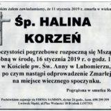 Ś.P. Halina Korzeń 11.01.2019 r. Lwówek Śląski – Lubomierz