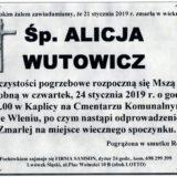 Ś.P. Alicja Wutowicz 21.01.2019 r. Lwówek Śląski – Wleń