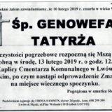 Ś.P. Genowefa Tatyrża 10.02.2019 r. Lwówek Śląski
