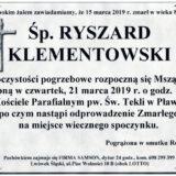 Ś.P. Ryszard Klementowski 15.03.2019 r. Lwówek Śląski – Pławna