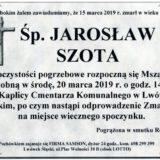 Ś.P. Jarosław Szota 15.03.2019 r. Lwówek Śląski