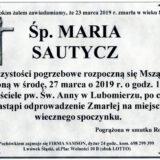 Ś.P. Maria Sautycz 23.03.2019 r. Lwówek Śląski- Lubomierz