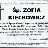 Ś.P. Zofia Kiełbowicz 07.04.2019 r. Lwówek Śląski – Gościszów