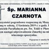 Ś.P. Marianna Czarnota 09.04.2019 r. Lwówek Śląski – Pławna