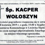 Ś.P. Kacper Wołoszyn 15.04.2019 r. Lwówek Śląski