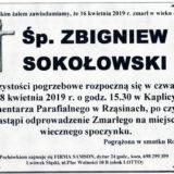 Ś.P. Zbigniew Sokołowski 16.04.2019 r. Lwówek Śląski – Rząsiny