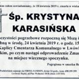 Ś.P. Krystyna Karasińska 18.04.2019 r. Lwówek Śląski