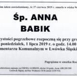 Ś.P. Anna Babik 27.06.2019 r. Lwówek Śląski
