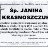 Ś.P. Janina Krasnoszczuk 07.07.2019 r. Lwówek Śląski – Pławna