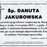Ś.P. Danuta Jakubowska 30.08.2019 r. Lwówek Śląski – Gryfów Śląski